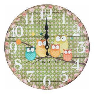 Giftcart - Family of Owls Green Wall Clock