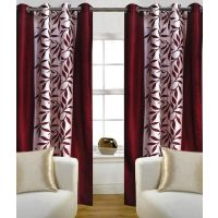 Iliv Maroon Kolaveri Window Curtains (Set Of 2)