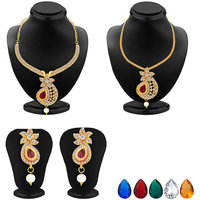 Sukkhi Brilliant Necklace Set (Detachable to Pendant Set with Chain along with Set of 5 Changeable Stone)