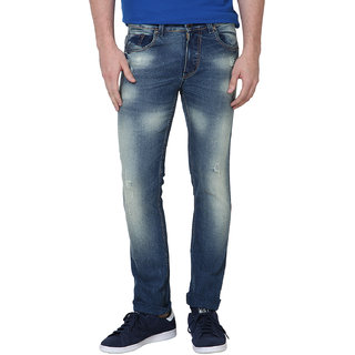 Super-X Blue Skinny Fit Jeans For Men-abc28c