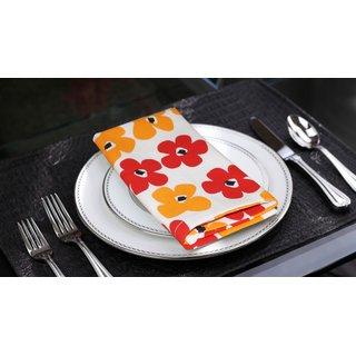 Lushomes Basic Printed Cotton 6 Table Napkins Set (Dinner Napkins)