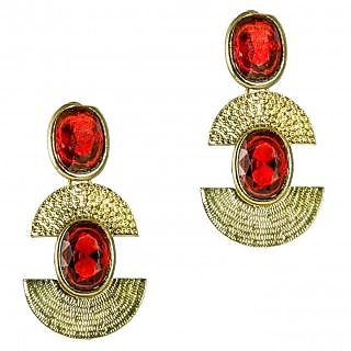 Paradise Gold plated Crystal Studded Red Earring