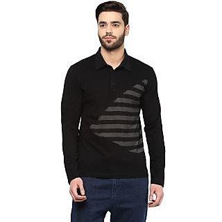 Hypernation Striped Mens Polo Neck Black T.shirt