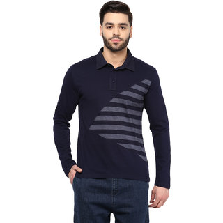 Hypernation Striped Mens Polo Neck Blue T.shirt