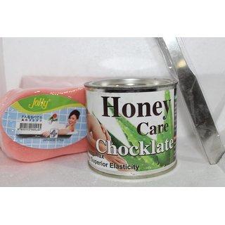 HONEY CARE CHOCLATE WAX BODY WAX FOR HAIR REMOVAL +WAX KNIFE FREE +SPONGE