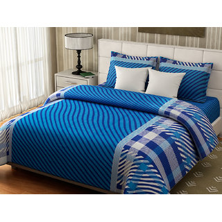 Desi Connection  Striped Cotton Double Bed Sheet(4326)