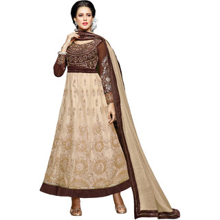 PARISHA Beige  Brown Embroidered Un-Stitched Anarkali Suit KFKCKPT234006