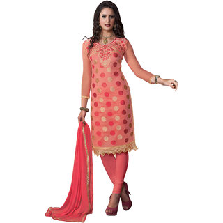 PARISHA Peach Embroidered Un-Stitched Chudidar Suit KFPARI41007