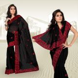 Black Faux Georgette Saree With Blouse 323