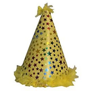 Star Feather Plastic Hat-Yellow