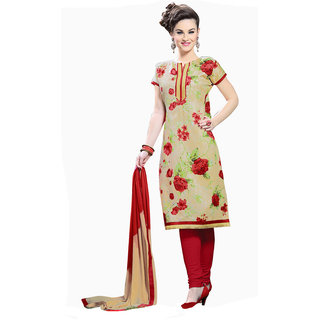PARISHA Beige  Red Printed Un-Stitched Straight Suit KFMDML1808