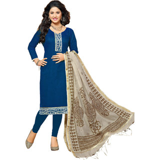 Lovely Look Blue Printed Un-Stitched Straight Suit LLKKFCDRS1259018