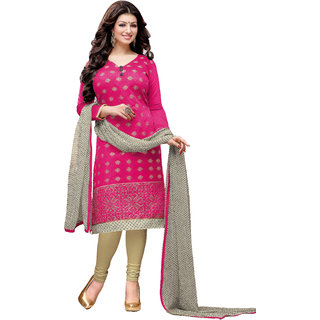 PARISHA Pink Embroidered Un-Stitched Straight Suit KFCDDRD49005