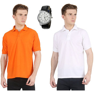 AVE Fashion Combo Of Multi Color Polo T-shirt With Wrist Watch For Men