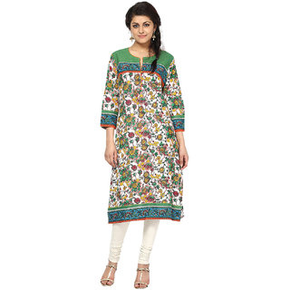Prakhya Printed Womens Long Straight cotton kurta-SW095GREEN