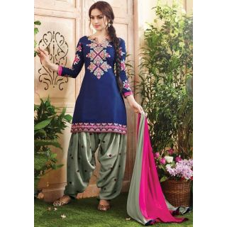Elevate Women Cotton Embroidered Semi-stitched Salwar Suit Dupatta Material