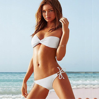 Twist Bandeau Top  Side Tie Bikini Bottom White