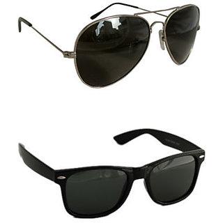 Derry Combo of 1 Wayfarer  1 Black Aviator Sunglasses