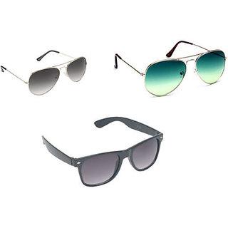 Derry Combo OF Two Aviator And One Wayfarer Sunglasses-DCOM020