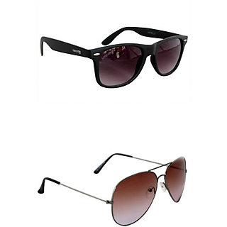 Derry Combo of 1 Wayfarer  1 Brown Aviator Sunglasses