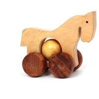Desi Karigar Wooden Toy Horse with wheels - for Kids  Home Decor