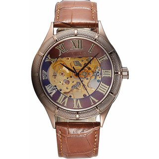Mens Splendid Copper Color Latest Design Hand Wind See Through Skeleton Watch