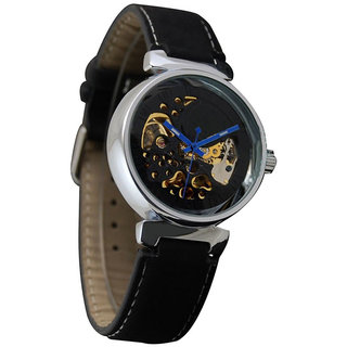 All Black Boys Stylish Leather Steel Strap Mechanical