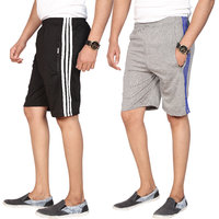 Swaggy Black  Grey Cotton Blend Plain Sports Shorts For Mens (Pack Of 2)