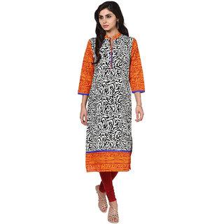 Prakhya Printed Womens Long straight cotton kurta-SW2086ORANGE