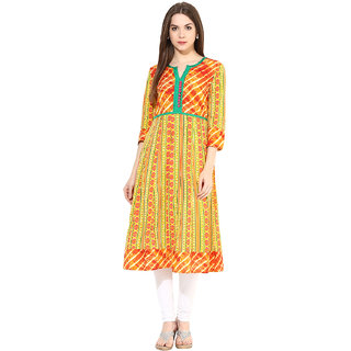 Prakhya Printed Womens Long straight cotton kurta-SW2049AORANGE