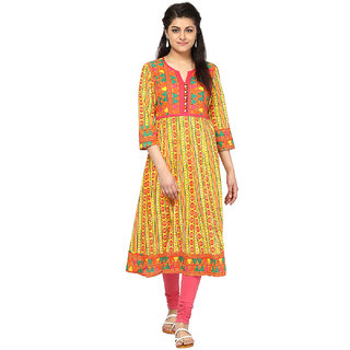 Prakhya Printed Womens Long straight cotton kurta-SW2049YELLOW