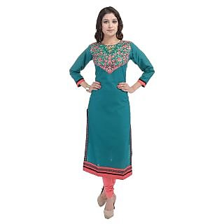 Beautiful Cotton Embroiderey Green Color Kurti From the house of SANA FAB