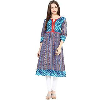 Prakhya Printed Womens Long straight cotton kurta-SW2049ABLUE