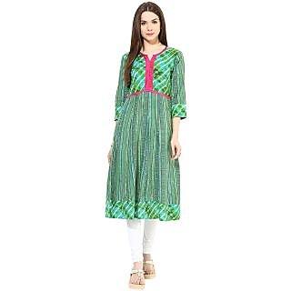 Prakhya Printed Womens Long straight cotton kurta-SW2049AGREEN