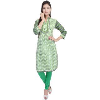 Tami Green Cotton Printed Kurti