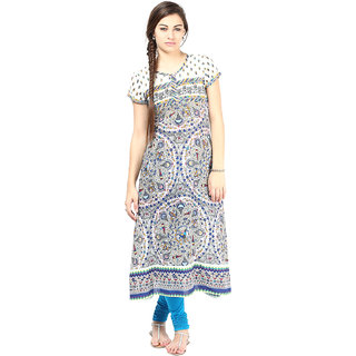 Prakhya Printed Womens Long straight cotton kurta-SW2037BLUE