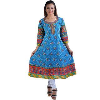 Prakhya Printed Womens Long Anarkali cotton kurta-SW2030BLUE