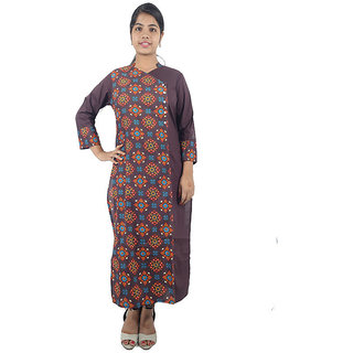 Shopmore Brown Floral Printed Long Kurta
