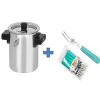 Buy 2Ltr Stainless Steel Milk Boiler Cooker & Get 10 Pcs Fruit Fork Free
