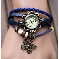 Round Dial Blue Leather Strap Womens Quartz Watch