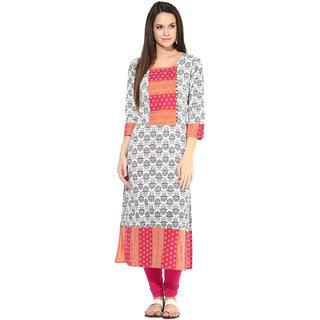 Prakhya Printed Womens Long straight cotton kurta-SW794RED