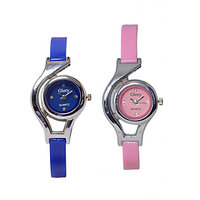 Glory watch combo for women/girls by Brandedking (BLUE+PINK)