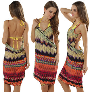 Sexy Backless Style Adorable Ziggy Zag Multi Colored Summer Wrap Skirt Beach Dress