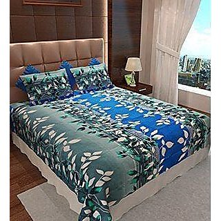 Akash Ganga Multicolour Cotton Double Bedsheet with 2 Pillow Covers (SW02)