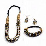 Black And Golden Ceramic Bead Jewellery Set