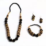 Golden And Black Ceramic Bead Jewellery Set