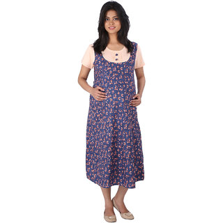 MomToBe Peach,Blue Cotton Maternity Dress (mtbpchblpd1668)