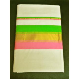 Keralashopee Kerala Kasavu Saree - Multi Colour