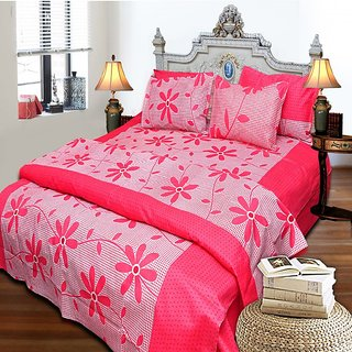 MEET CREATIVE 100% Cotton Double Bedsheet with 2 pillow covers