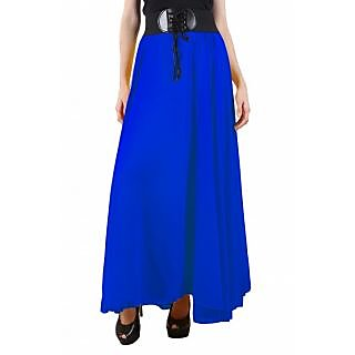 Raabta Womens Royal Blue Skirt With Belt